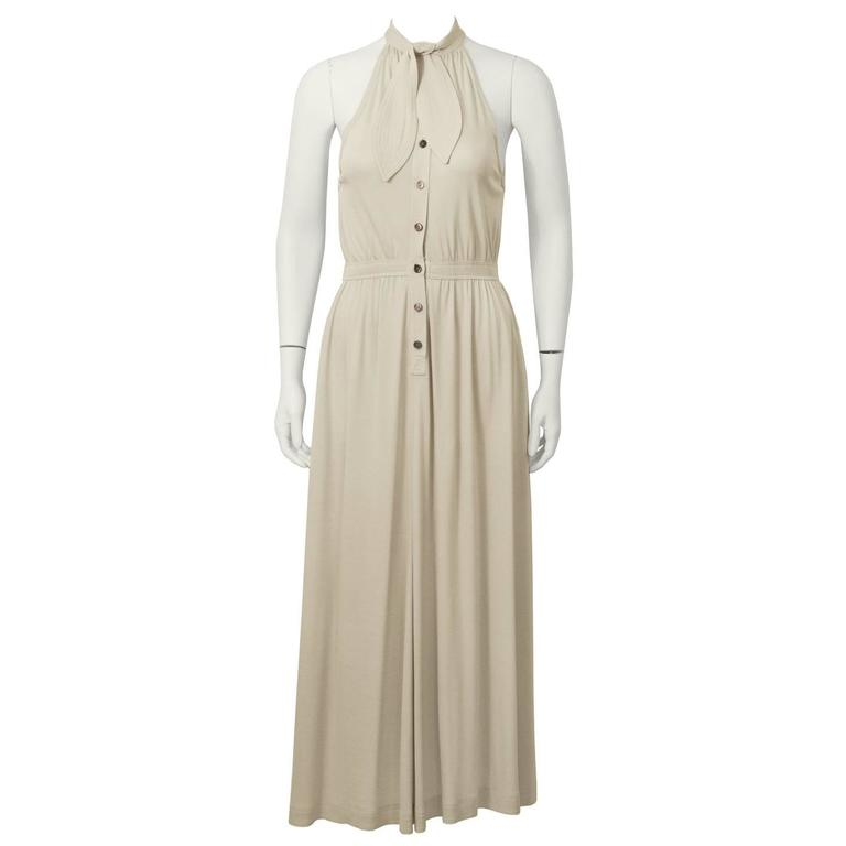 1970's Jean Muir Beige Sleeveless Dress with Necktie