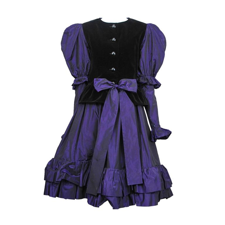 Yves Saint Laurent Purple Taffeta Ensemble  For Sale
