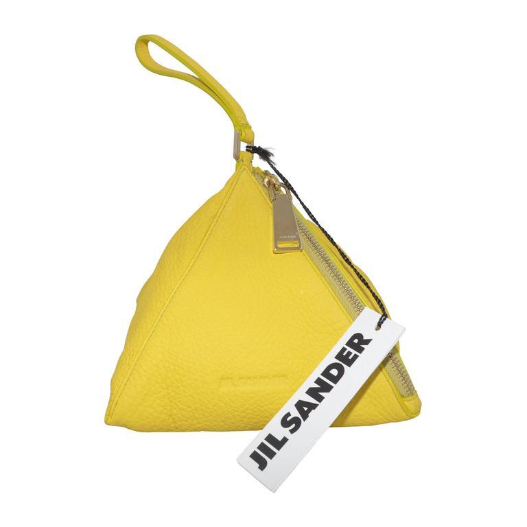 Jil Sander Yellow Pyramid Wristlet Handbag For Sale