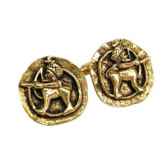 Chanel Vintage Gold Tone Motif Cufflinks