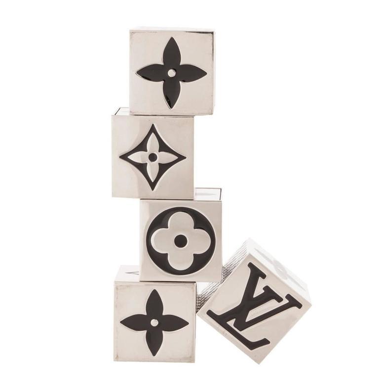 Louis Vuitton New Palladium Logo Five-Piece Dice Die Cube Game in Box