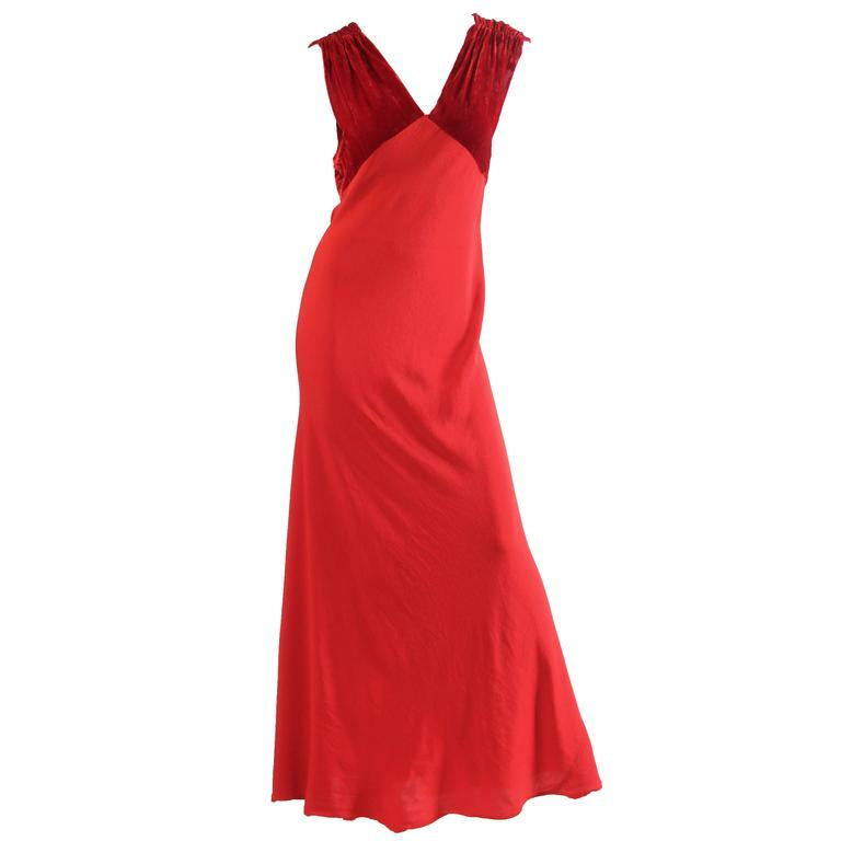 1930s Backless Red Bias Cut Gown For Sale