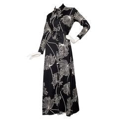 1970s Lanvin Floorlength Graphic Dress