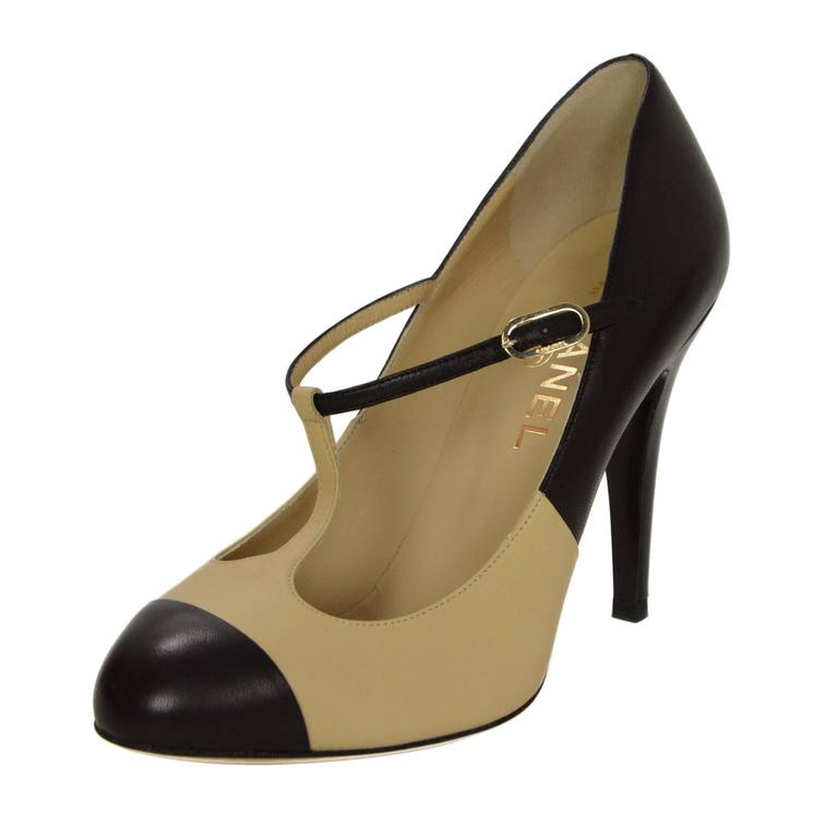 chanel nude and black t strap pumps sz 37 5 for sale at. Black Bedroom Furniture Sets. Home Design Ideas