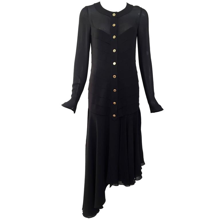 CHANEL black dress with asymetrical hem