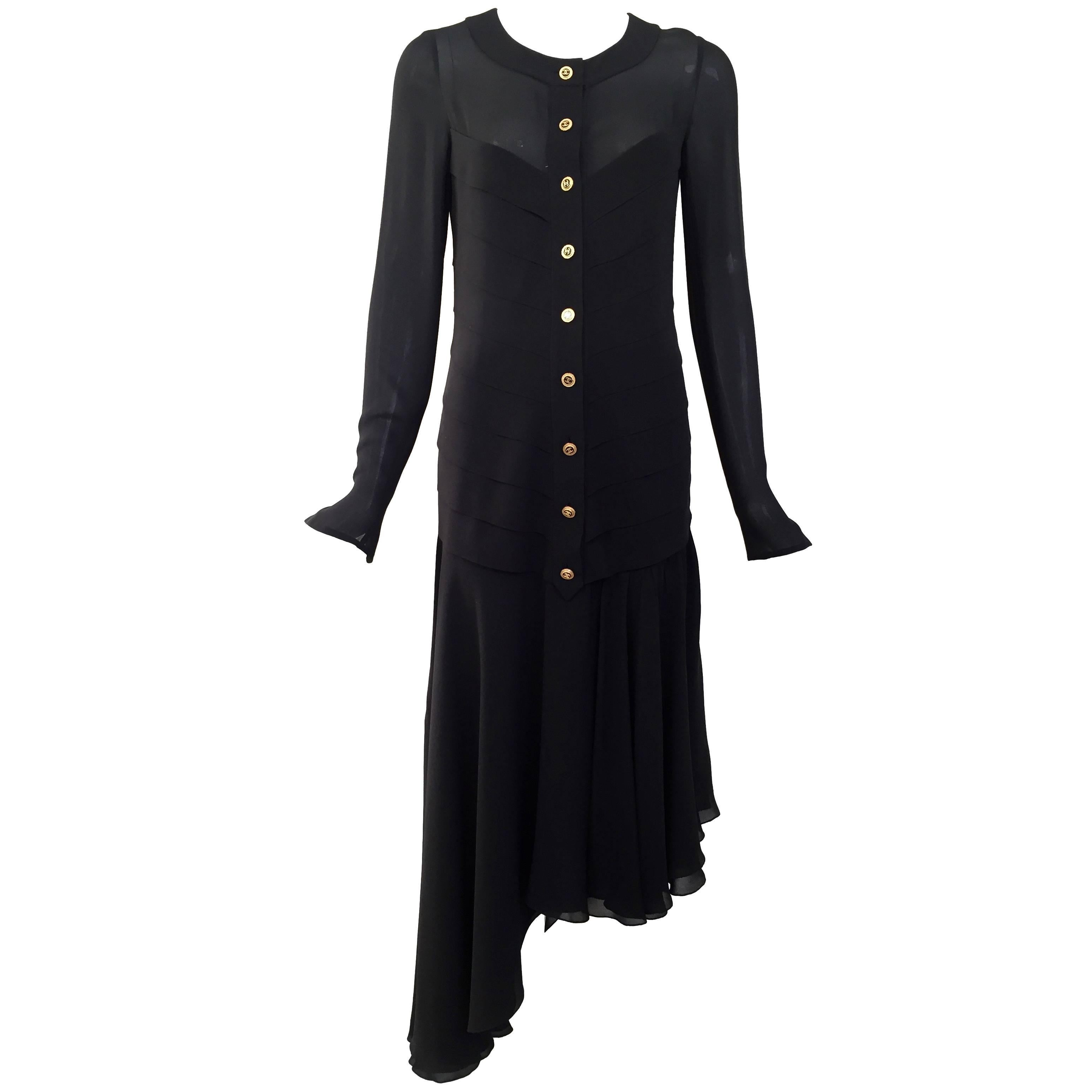 1980s Chanel Black Silk Dress with Asymmetrical Hem