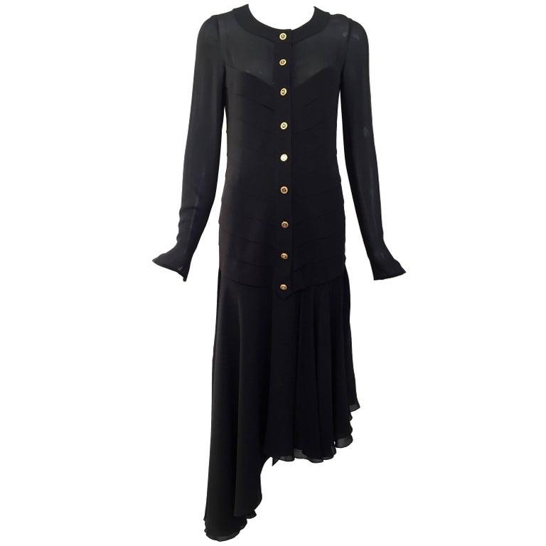 1980s Chanel Black Silk Dress with Asymmetrical Hem For Sale
