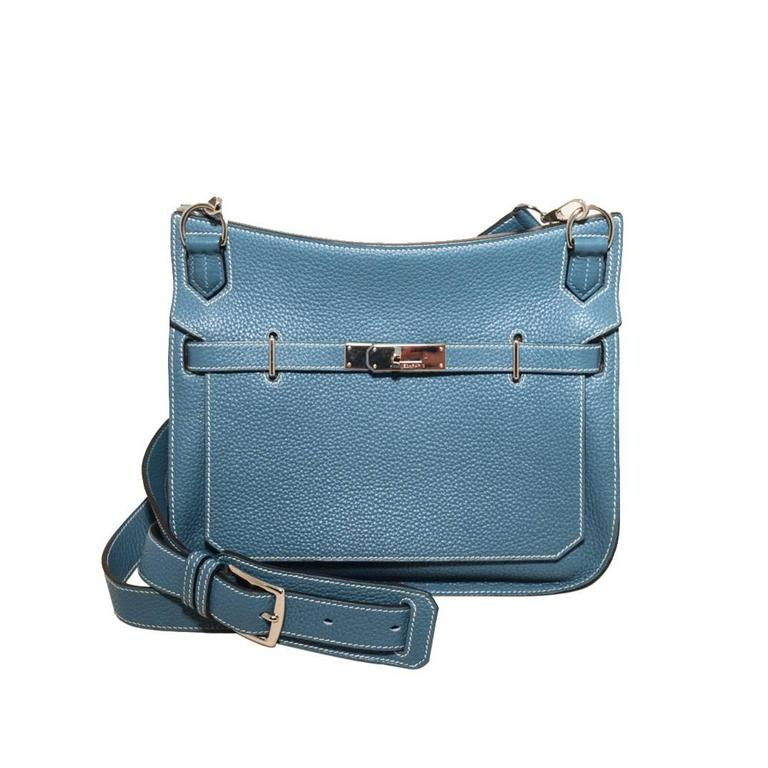 Hermes Blue Jean Clemence Leather Jypsiere 26 Shoulder Bag 1
