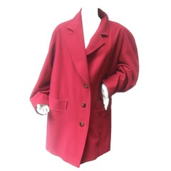 Missoni Donna Berry Color Wool 3/4 Length Coat Made in Italy