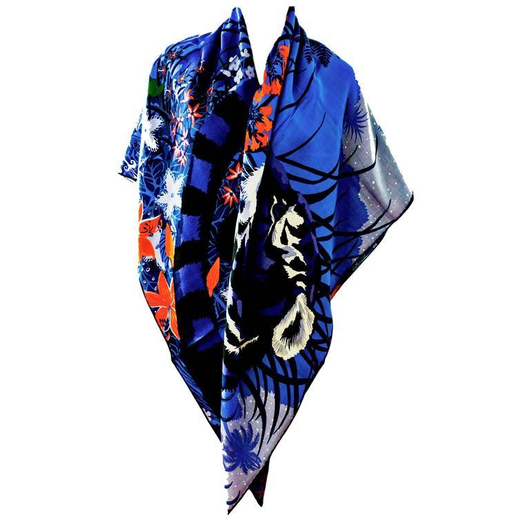 Hermes Tyger Tyger Lavande Cashmere Silk Shawl Scarf  1