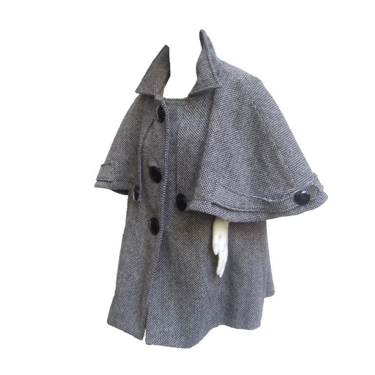 Stylish Unique Capelet Herringbone Wool Blend 3/4 Coat