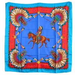 Gucci Silk Scarf Indian Chief Motif New Never worn 1990s