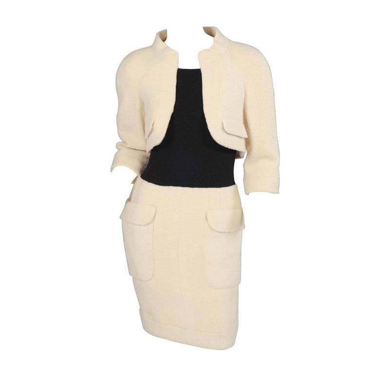 Chanel Haute Couture Cream & Black Trompe l'oeil Dress For Sale