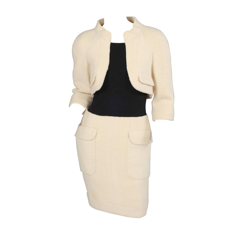 Chanel haute couture cream and black trompe l 39 oeil dress for Haute couture dress price