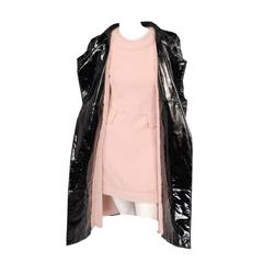 Chanel Haute Couture Patent Leather Coat & Matching Pink Boucle Dress