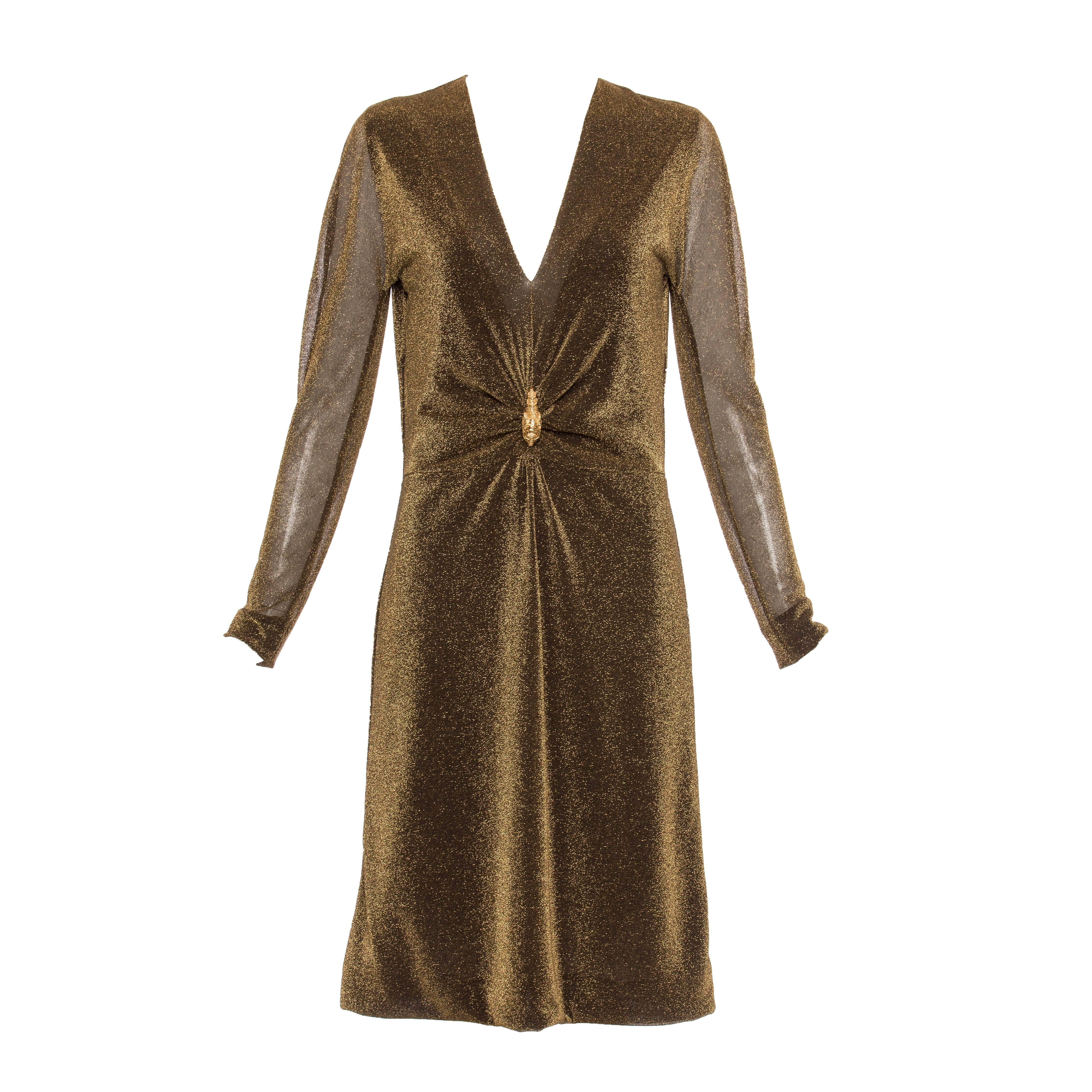 Tom Ford for Gucci Runway Bronze Metallic Dress Lion Brooch, Fall 2000