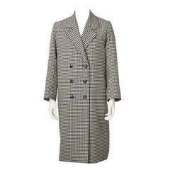 1970's Yves Saint Laurent Black and White Houndstooth Coat