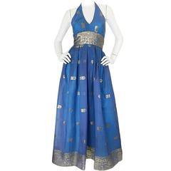1960s Backless Blue & Gold Sari Inspired Silk Dress