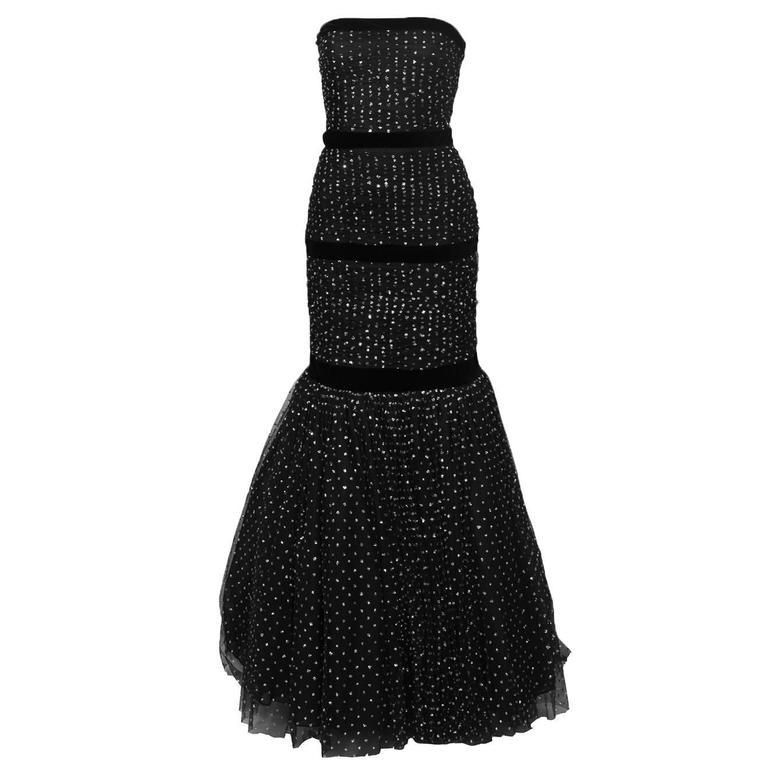 Hattie 1960's Black StraplessTulle Jewelled Gown 1