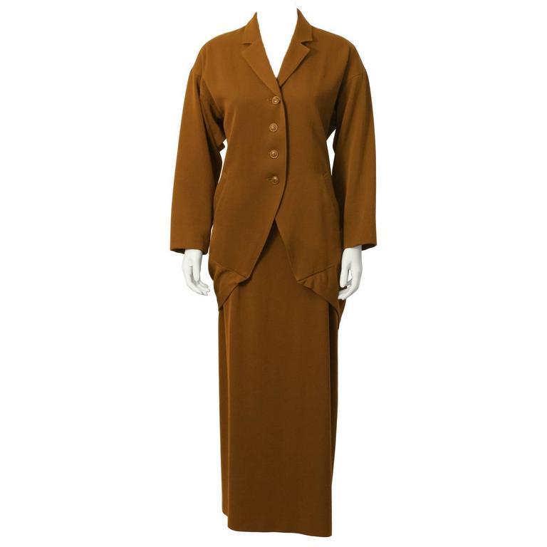 1980's Issey Miyake Brown Skirt Set