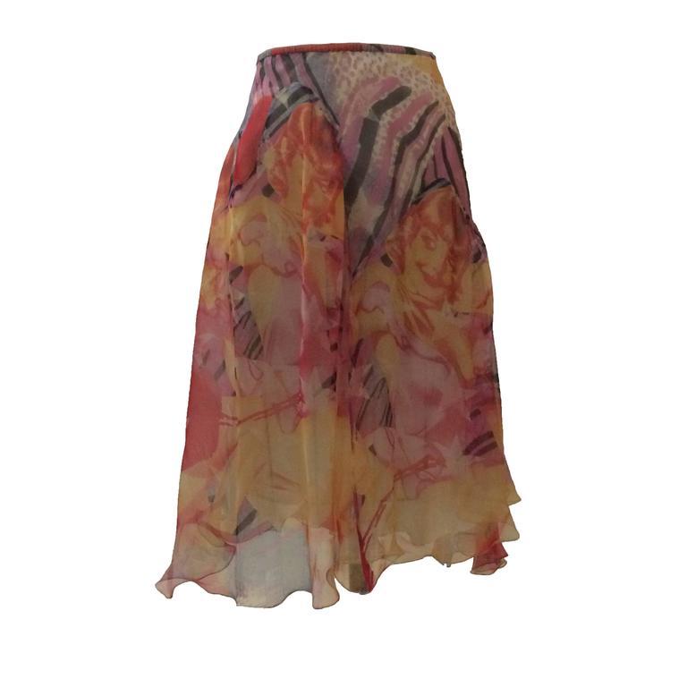 Alexander McQueen 2003 Multi Color Blonde Girl Print Silk Skirt 1
