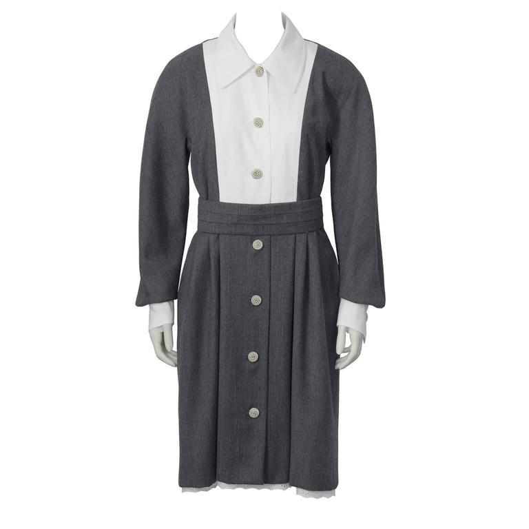 1960's Grey Dress with White Bib and Slip