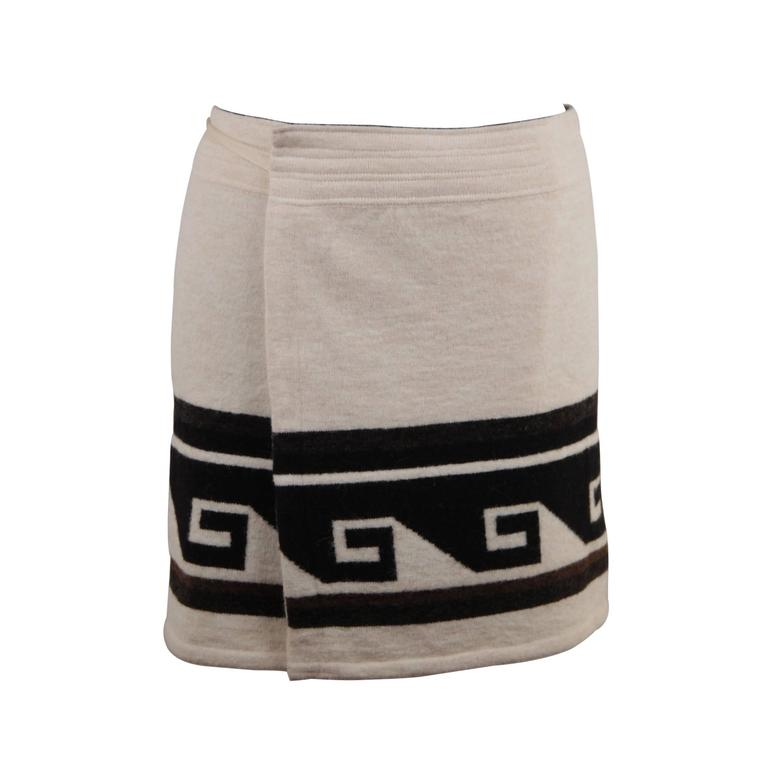 ISABEL MARANT Ivory SIENNA Knitted WRAP MINI SKIRT w/ MEANDER Design Sz 36 FR For Sale