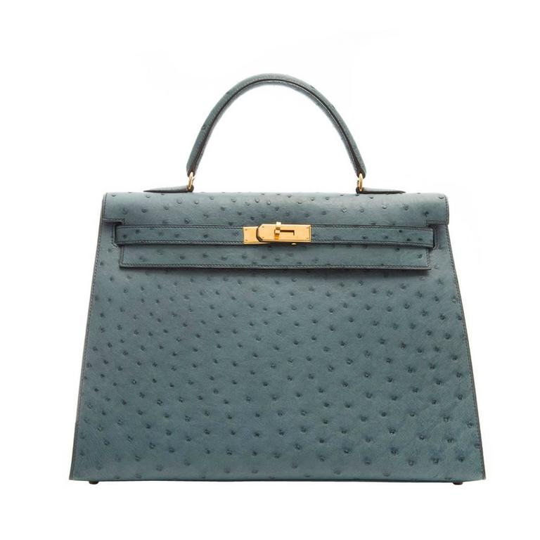 Hermes 35cm Blue Jean Ostrich Kelly Bag 1