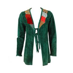 1970's Gorgeous Green Suede Leather Patchwork Studded Bohemian Hippie Jacket