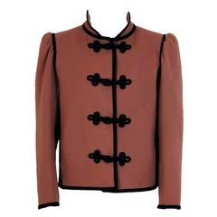 1970's Yves Saint Laurent Mocha Brown Wool Russian Toggles Cropped Jacket