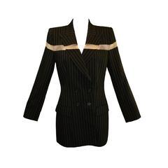 Alexander McQueen S/S 1998 Runway Black Yellow Pinstripe Dress Jacket Pant Suit