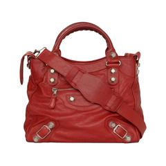 Balenciaga Red Distressed Leather Giant 21 Velo Bag SHW