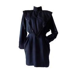 1970s Mariella Burani Black long dress