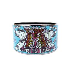 Beautiful Hermes Printed Enamel Bracelet Torana Elephant Extra Wide 65