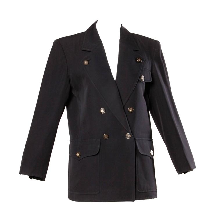 Yves Saint Laurent Rive Gauche Vintage Wool Boyfriend Blazer Jacket For Sale