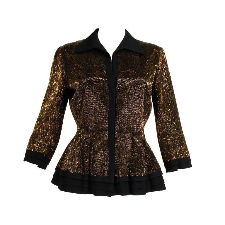 Pierre balmain haute couture iridescent bugle beaded for Haute couture jacket