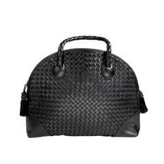 Bottega Veneta Black Woven Leather Satchel with Shoulder Strap