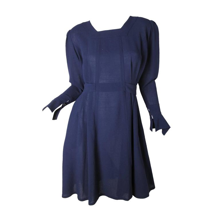 Jean Muir Navy Crepe Dress, 1980s