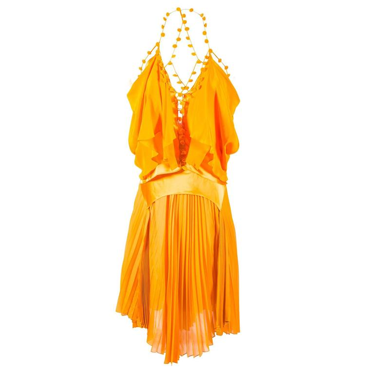 Tom Ford for Yves Saint Laurent Spring 2004 RTW Orange Silk top and skirt set 1