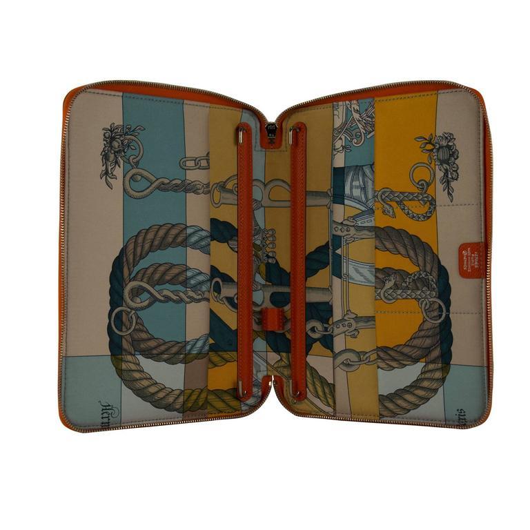 Hermes Diary Silk Daily G Trot Epsom Silk Orange Grey