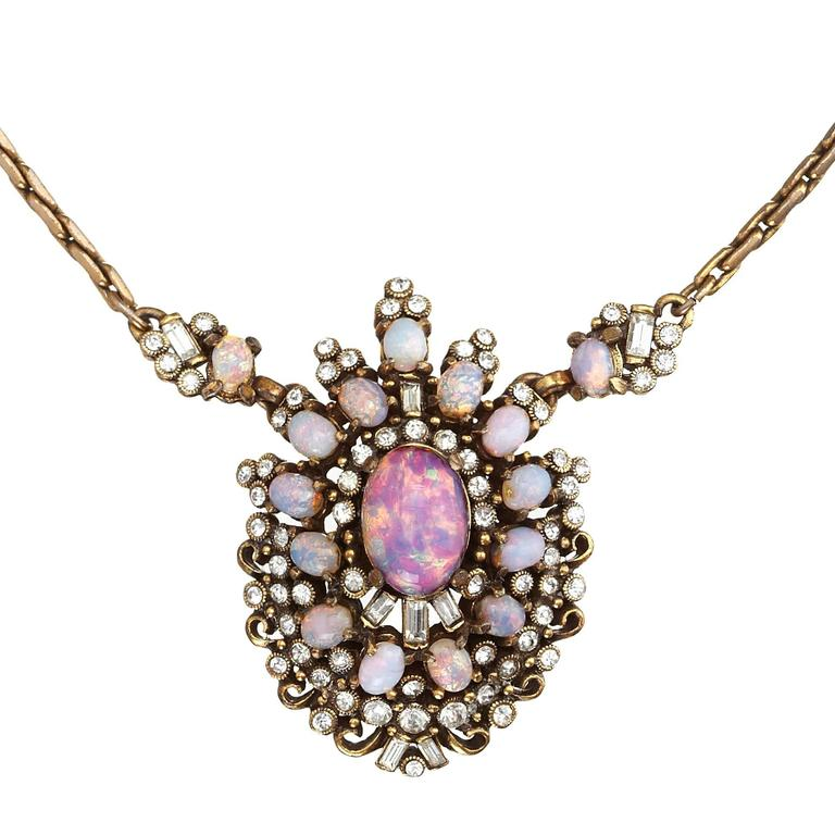 Vintage Hollycraft Opal Pendant For Sale