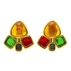 1980s Chanel Multi-colored Gripoix Earrings