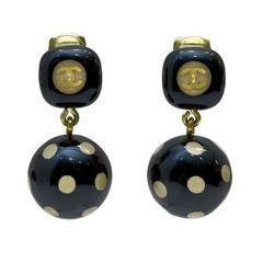 2000's Chanel Polka Dot Drop Earrings