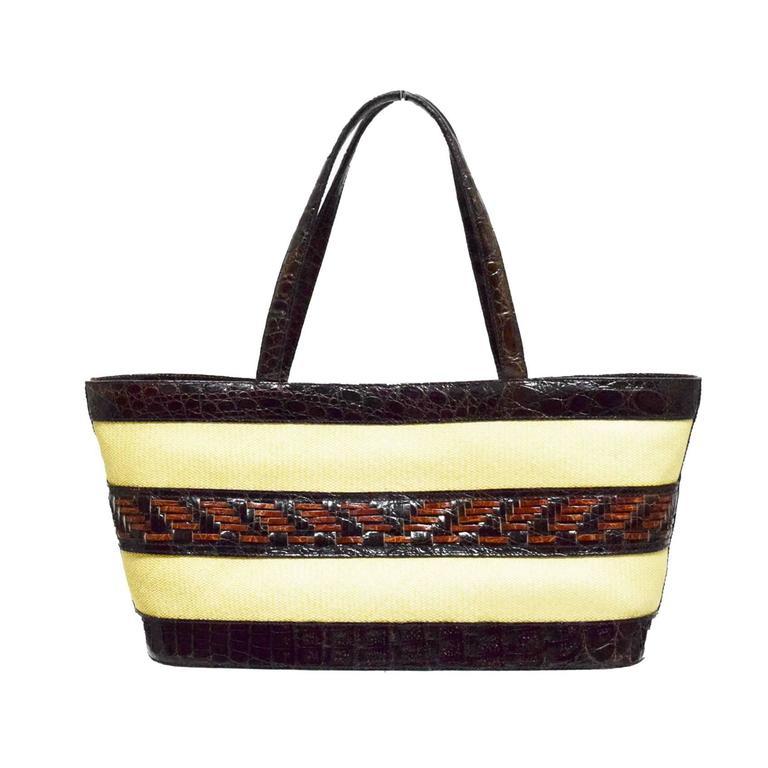 Nancy Gonzalez Straw And Black Croc Basket Weave Medium
