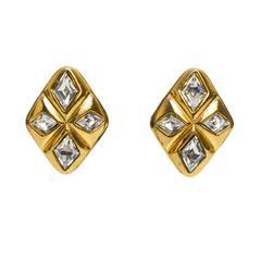 1980's Chanel Diamond Shaped Rhinestone Earrings