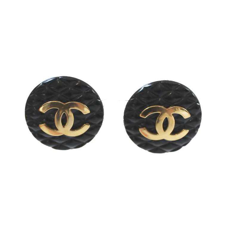 Black Quilted Chanel Earrings At 1stdibs