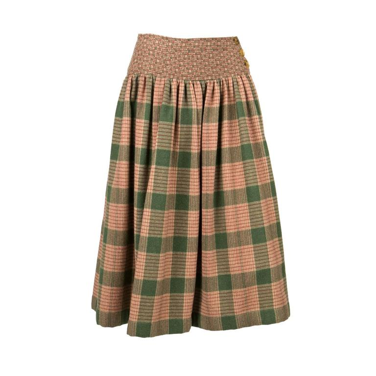 1970s Lanvin Check Wool Skirt 1