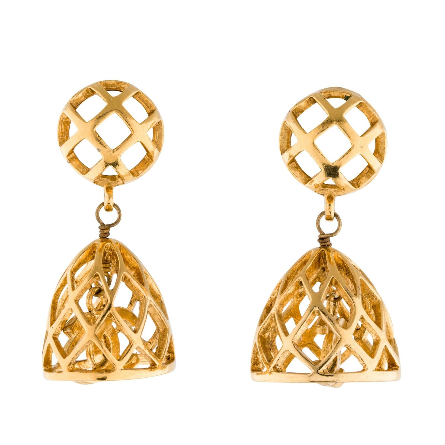 chanel gold cage cc dangle drop earrings at 1stdibs