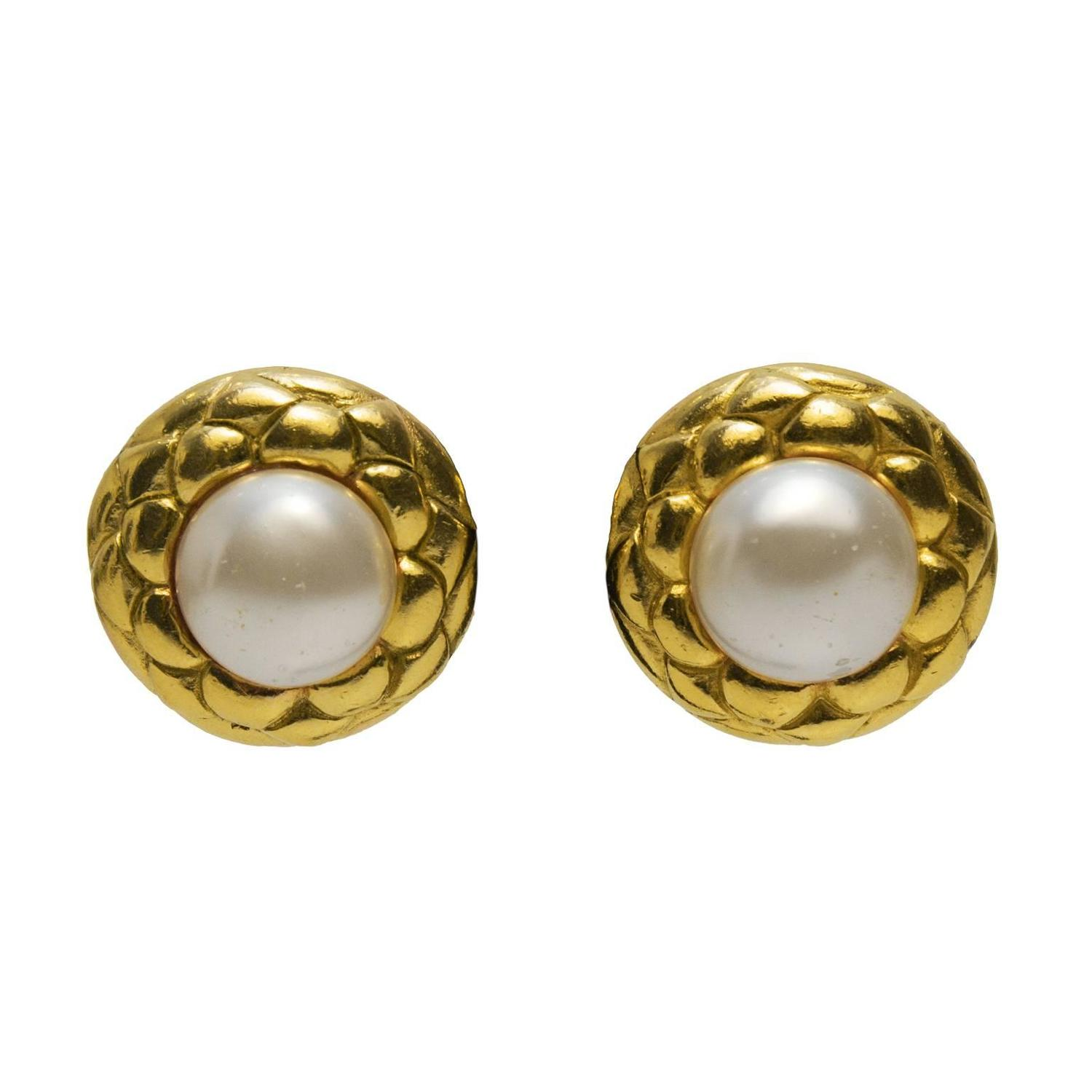 1980 s chanel gold quilted earrings with pearl at 1stdibs