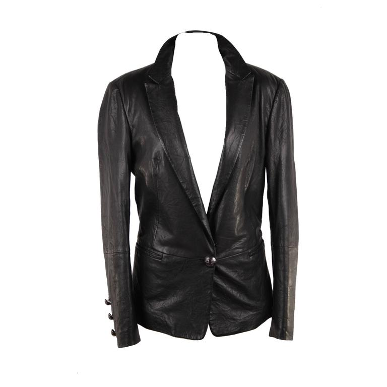 FAITH CONNEXION Black Crease Effect LEATHER BLAZER Jacket SIZE S  For Sale